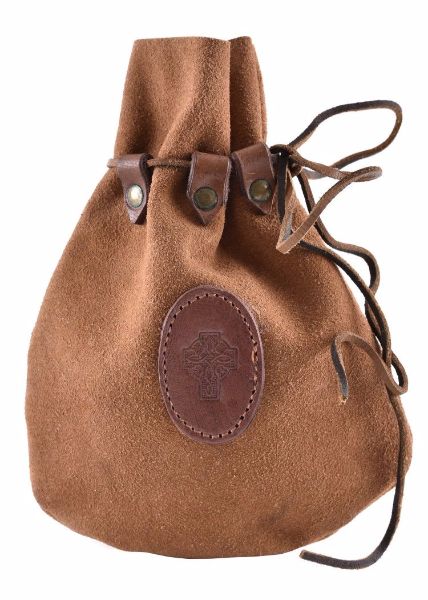 Medieval Drawstring Leather Bag with Celtic Cross