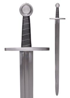High Medieval Sword With Leather Scabbard, Blunt