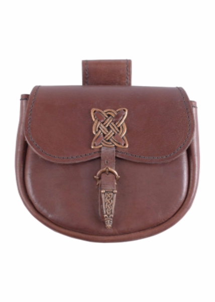 Leather Purse With Brass Celtic Design Clasp