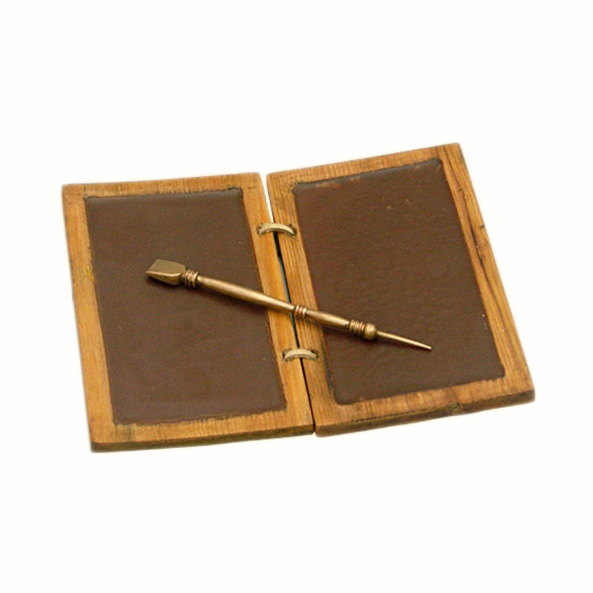 Roman Wax Writing Tablet With Bronze Pen