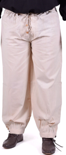 Trousers with Front Cord Fastening and Wooden Buttons on  Ankle -  Natural